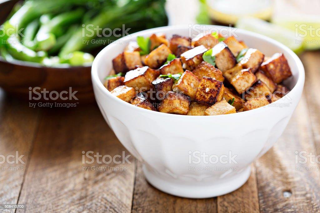 Stir fried tofu in a bowl stock photo