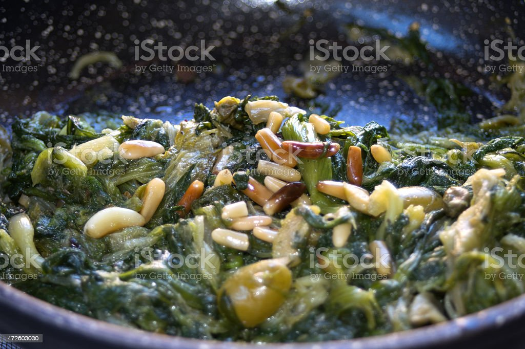 stir fried vegetable in pan stock photo