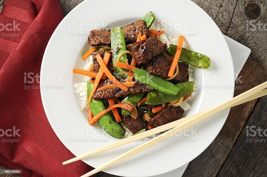 Stir Fry, Beef, Peas, Carrots, Rice stock photo