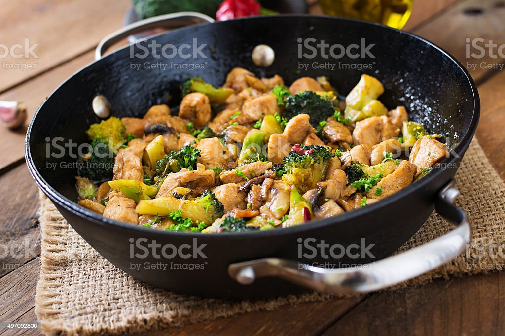 Stir fry chicken with broccoli and mushrooms - Chinese food stock photo