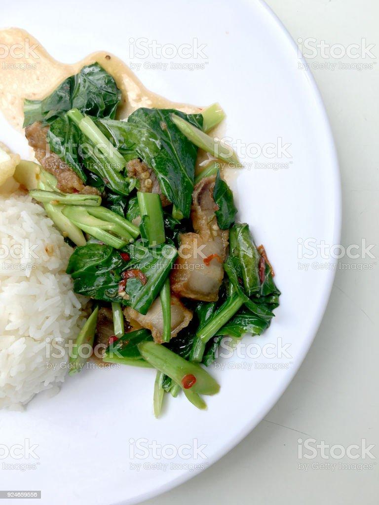 Stir Fry Kai Land And Crispy Pork Stir Fried Rice With Rice