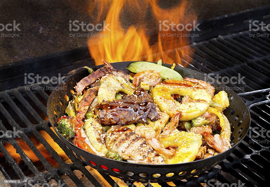 Stir Fry on Barbecue Grill royalty-free stock photo