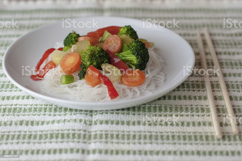 Stir Fry over Rice Noodles stock photo