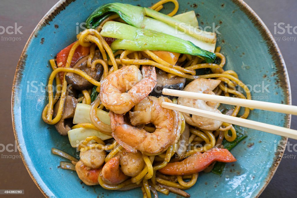 Stir fry seafood Hokkien noodle stock photo