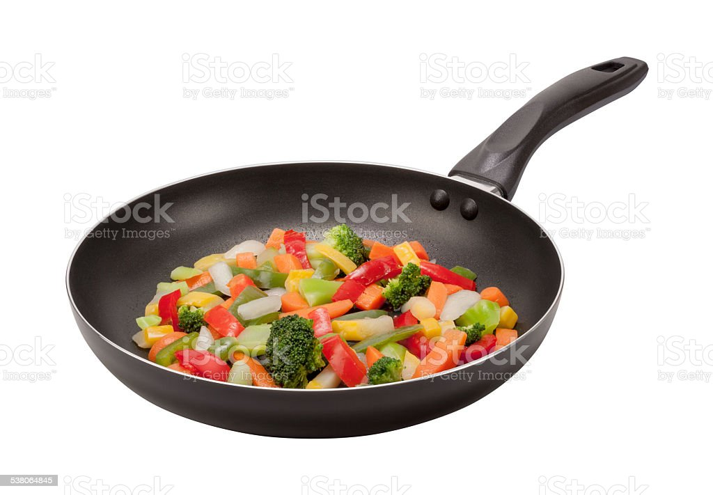Stir Fry Vegetables in a Pan with clipping path stock photo