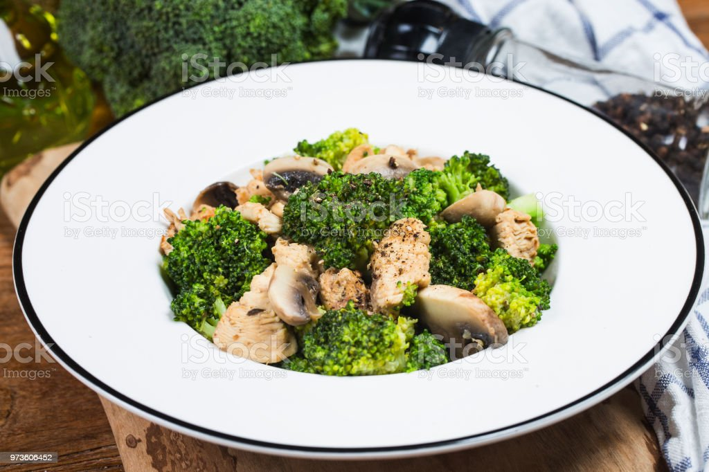 Stir Fry With Chicken Mushrooms And Broccoli Low Carb High Protein Recipes Healthy Fat -1477