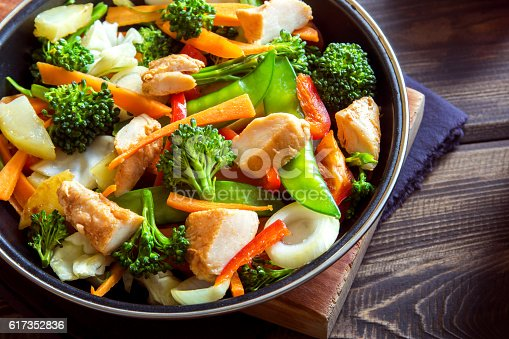 Healthy stir fried vegetables with chicken on pan close up