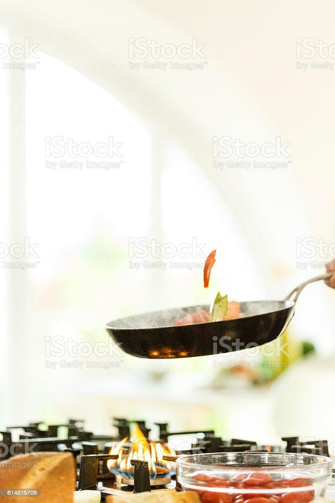 Stir frying vegetables stock photo