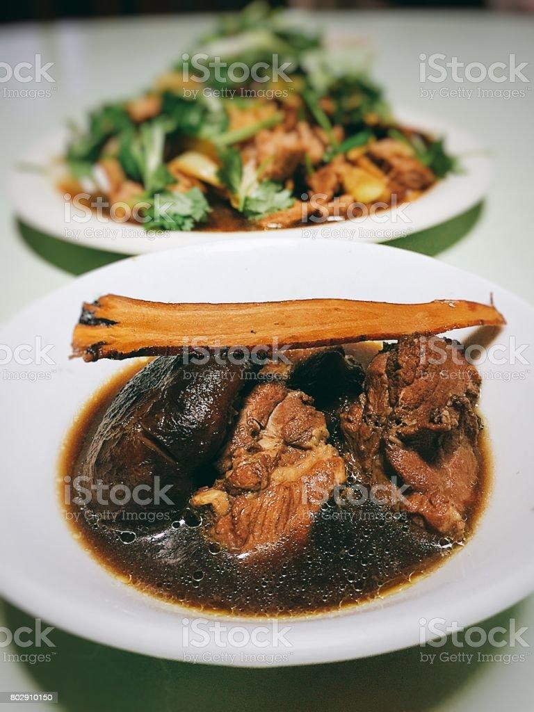 stired pork with chinese musheoom, stock photo