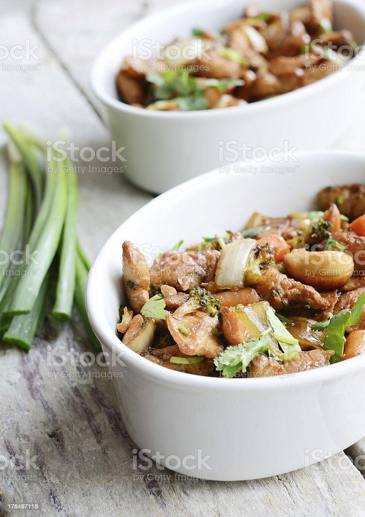 Stir-fried cashew nut chicken in thai style royalty-free stock photo