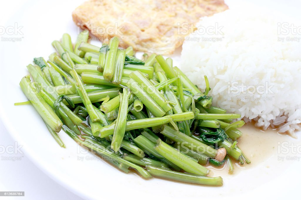 Stir-Fried Chinese Morning Glory, Water Spinach, Tumis Kangkung, stock photo