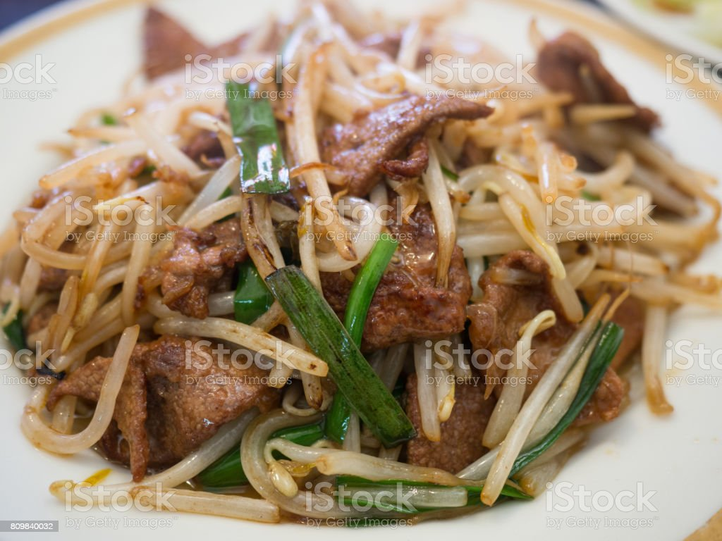 Stir-fried dish of liver and chive stock photo