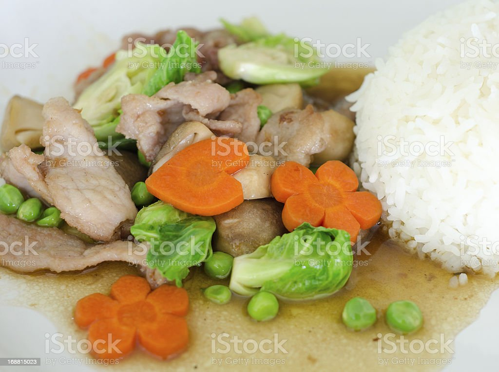 stir-fried mixed vegetables with pork royalty-free stock photo