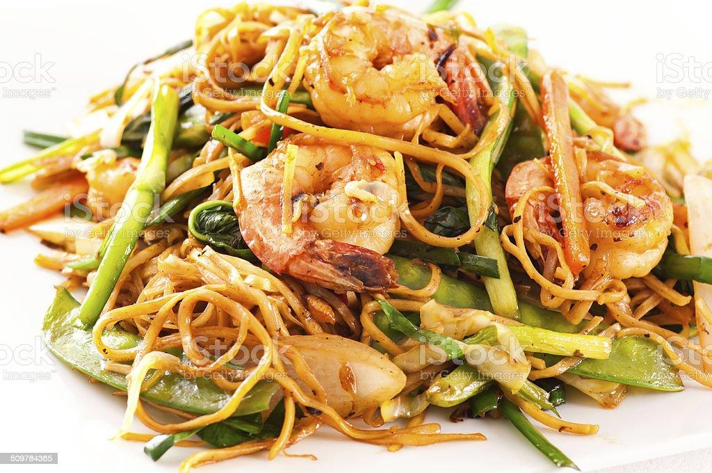 Stir-fried Noodles with Shrimps stock photo