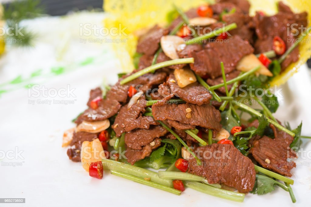 stir-fried pork slices royalty-free stock photo