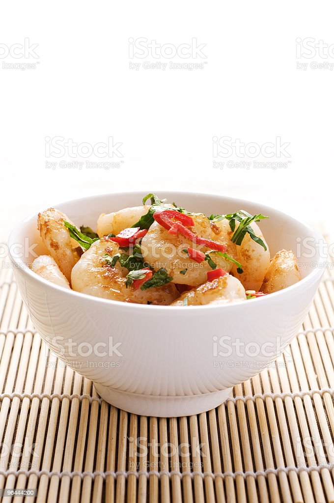Stir-fried Prawns with chilli and coriander - Royalty-free Appetizer Stock Photo