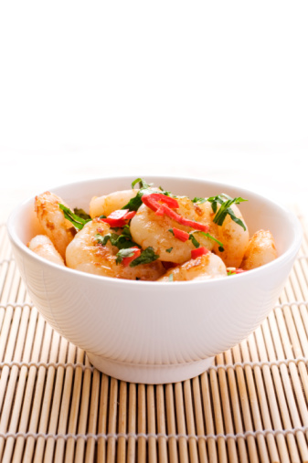 Stirfried Prawns With Chilli And Coriander Stock Photo - Download Image Now