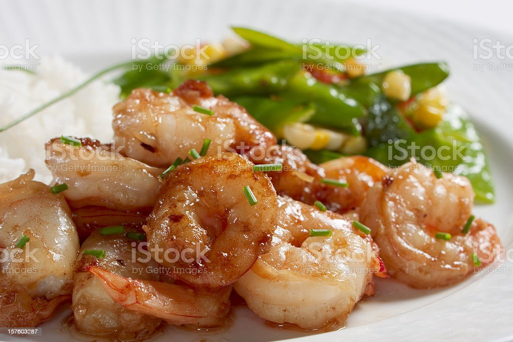 Stir-Fried Shrimp with Ginger and Garlic royalty-free stock photo