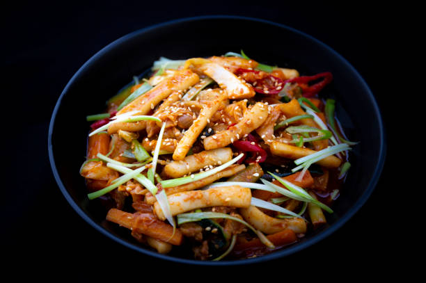 Stir-fried Squid with spicy sauce stock photo
