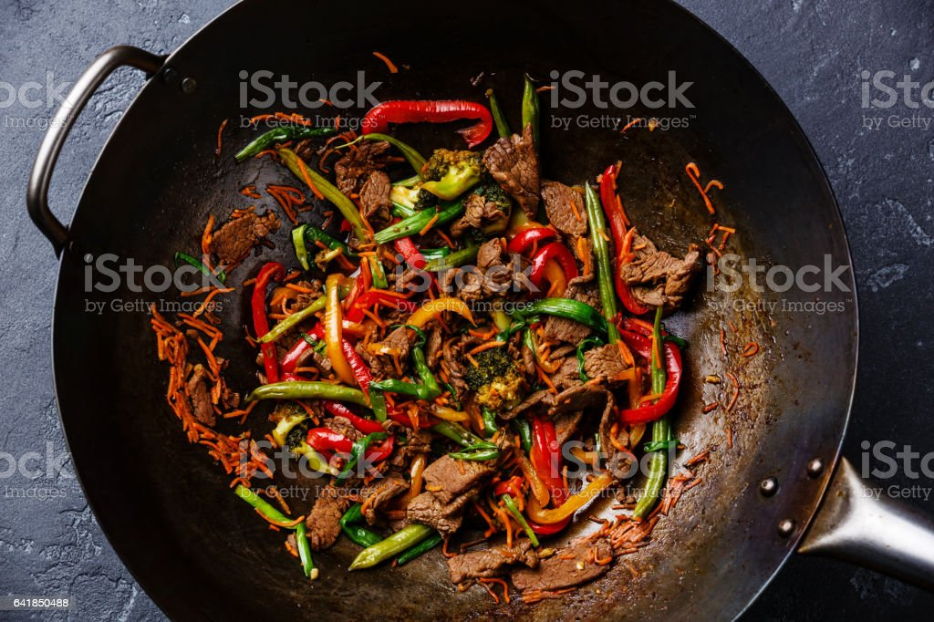 Stir-fry beef meat with vegetables stock photo