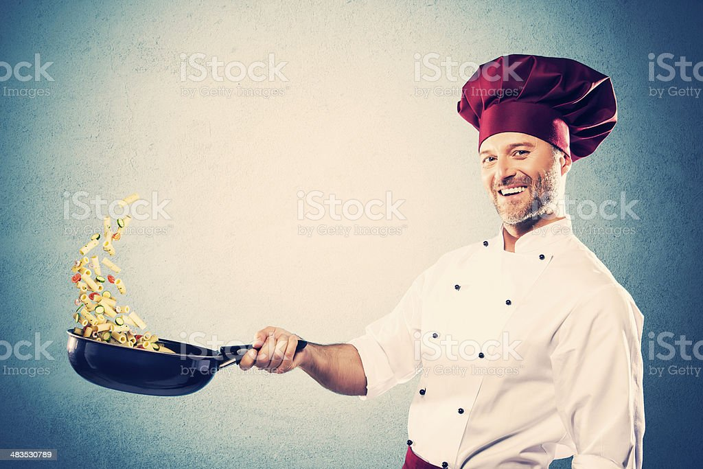 Stir-frying chef stock photo