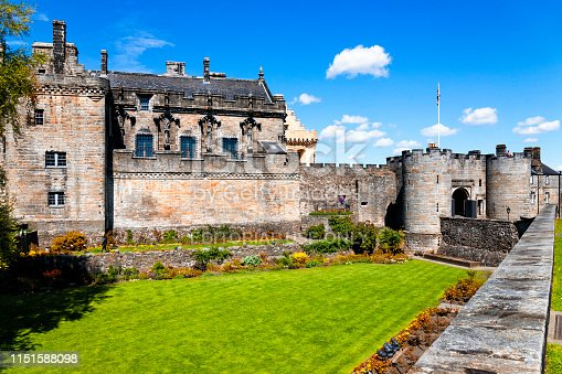 Stirling, United Kingdom - May 12, 2019: View towards the south facade of The Stirling Castle - The Prince's Tower and The Forework, Scotland, UK