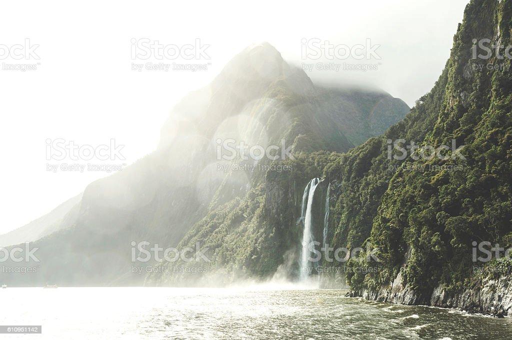 Stirling Falls , Milford Sound, Fiordland, New Zealand stock photo