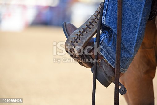 Stirrup with cowboy boot and horse
