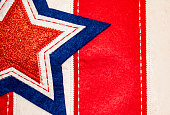 Stitched fabric background of star on stripes -Red White and Blue - Patriotic holiday background or element