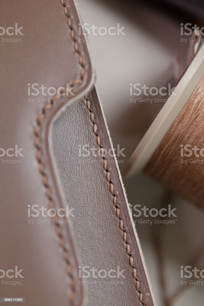 Stitched Leather bag stock photo