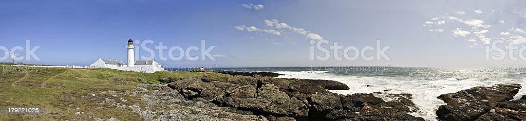 Stitched Panorama Langness Peninsula with Lighthouse royalty-free stock photo