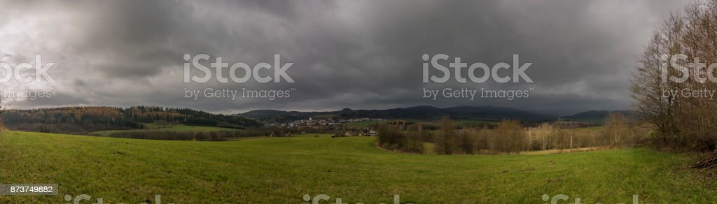Stity town with church in dark autumn day stock photo