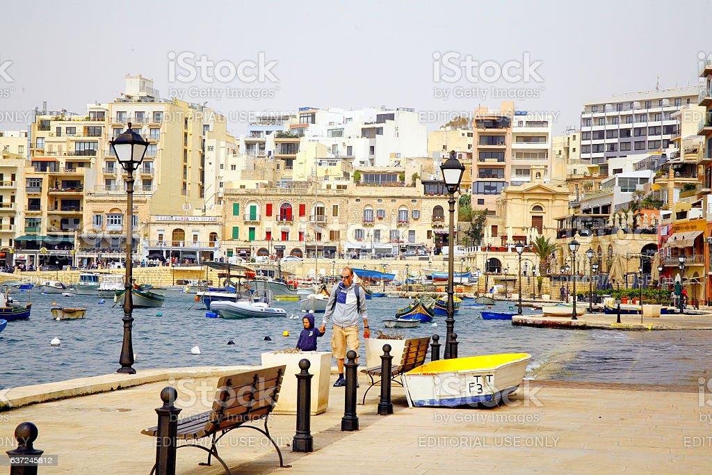 St.Julian's Bay, Malta. stock photo