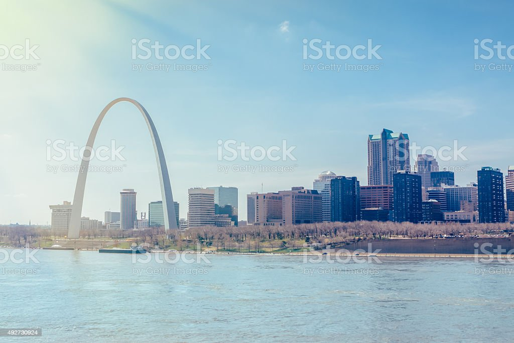 St.Louis Cityscape and Arch stock photo