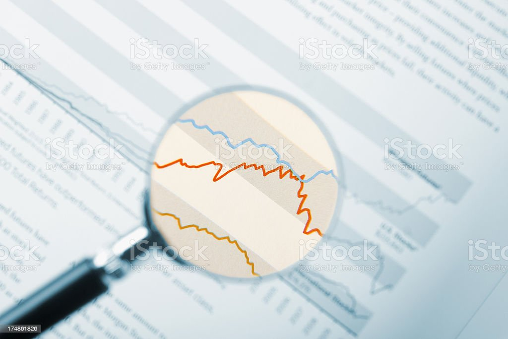 Stock analyzis with magnifying lens royalty-free stock photo