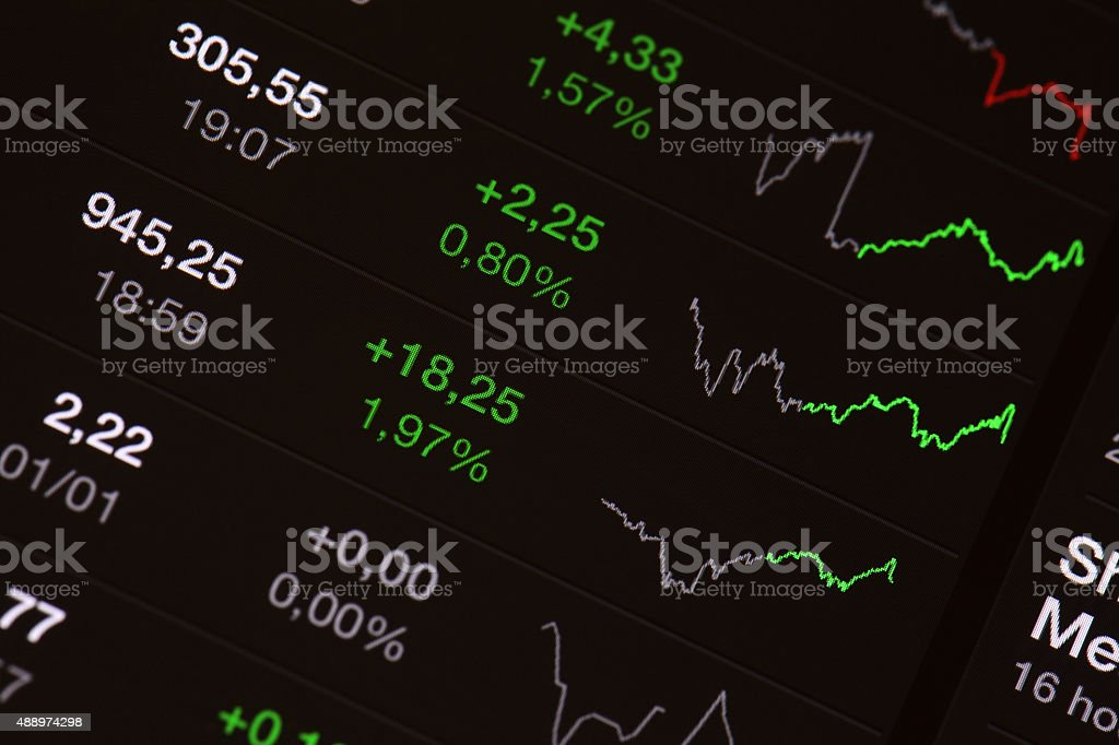 Stock board - market growth stock photo
