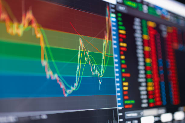 Stock Business financial Economic background turnaround from bottom Recession Industrial Sector From Coronavirus ,Covid-19, Global Stock Investment Financial Economy concept stock photo