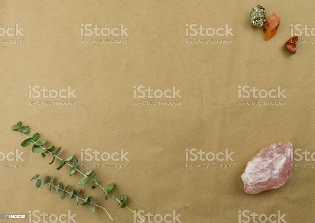Stock Butcher Paper With Crystals Rose Quartz Pyrite And ...