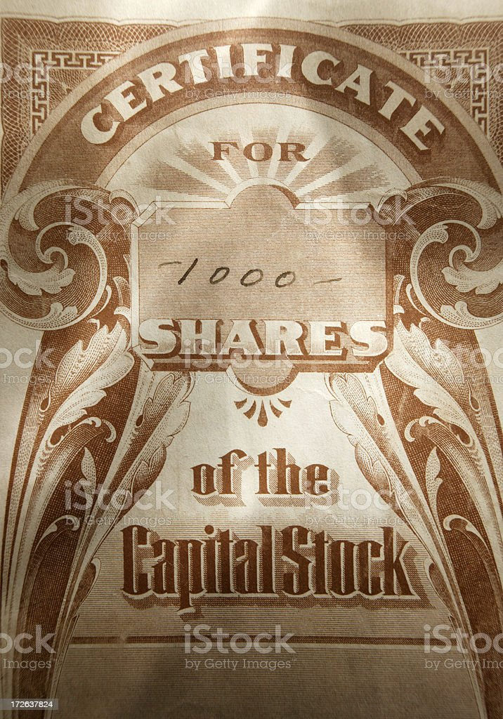 Stock Certificate 14 royalty-free stock photo