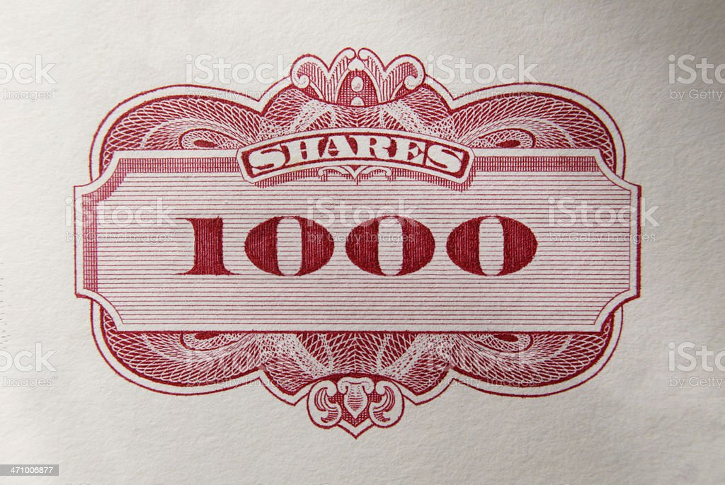 Stock Certificate 25 royalty-free stock photo