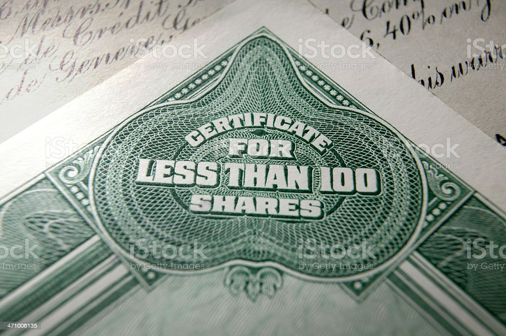 Stock Certificate 9 royalty-free stock photo