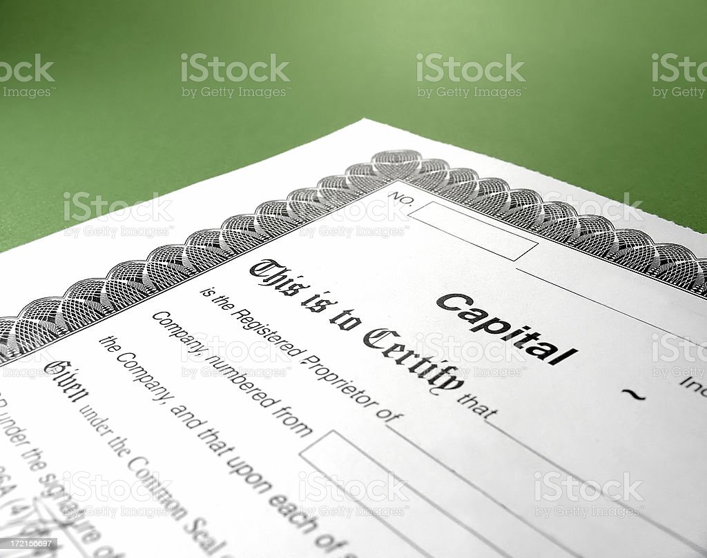 stock certificate royalty-free stock photo