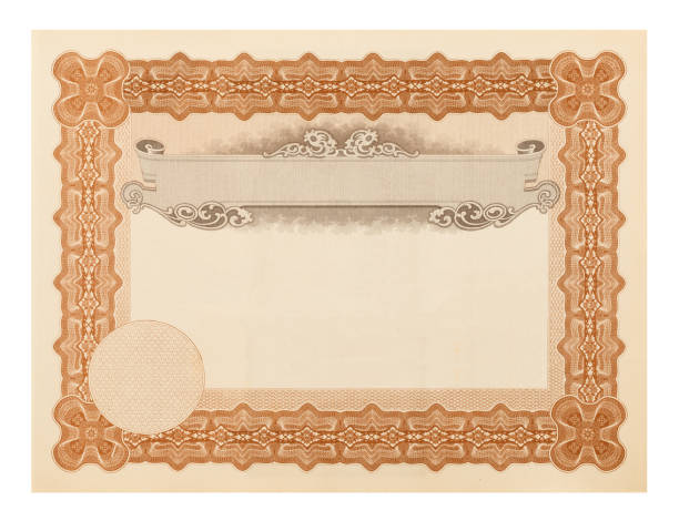 stock certificate - guilloche stock photos and pictures
