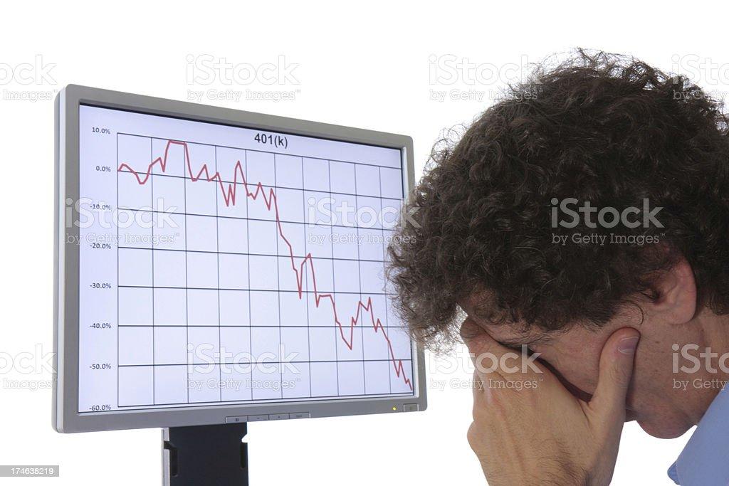 Stock chart and despairing man royalty-free stock photo