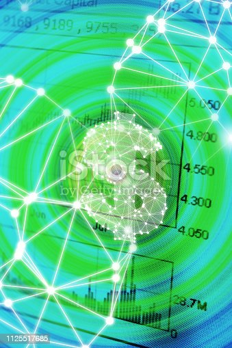 Close-up of stock chart on computer screen with network polygon graphics.