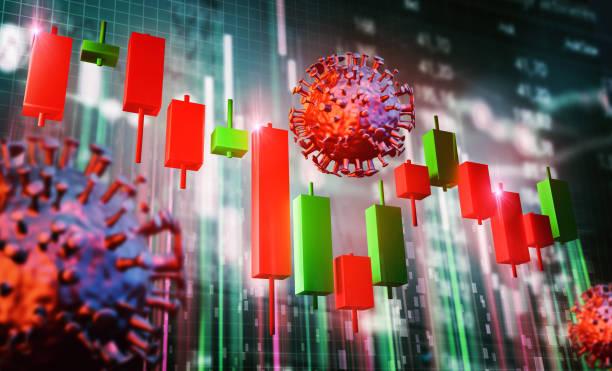 stock chart stock market corona - nyse crash imagens e fotografias de stock