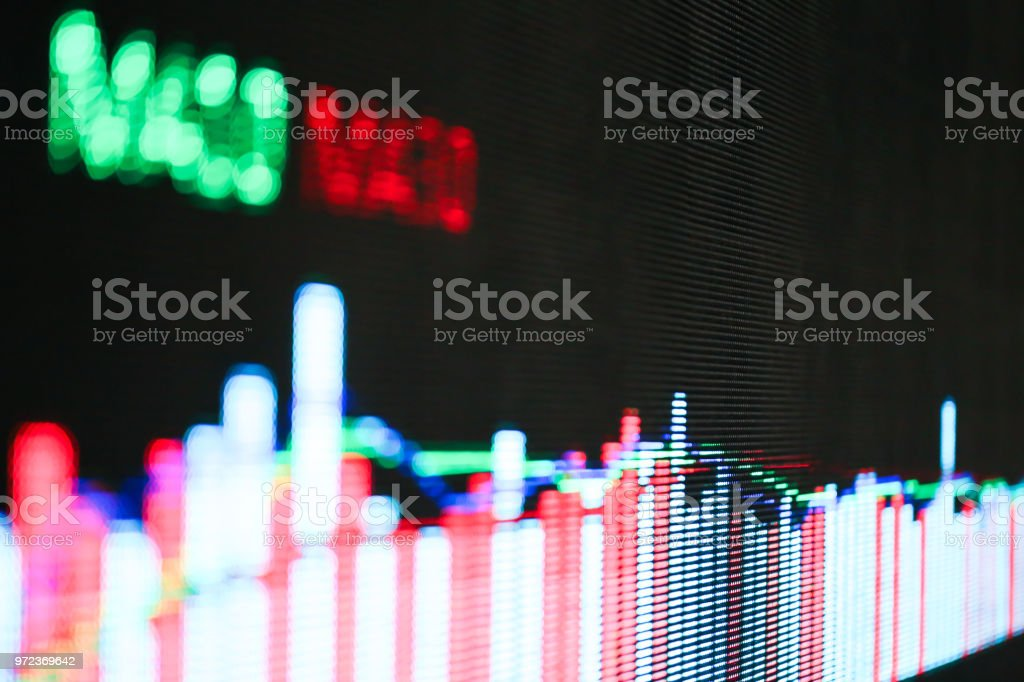stock chart trend line in big LED screen stock photo