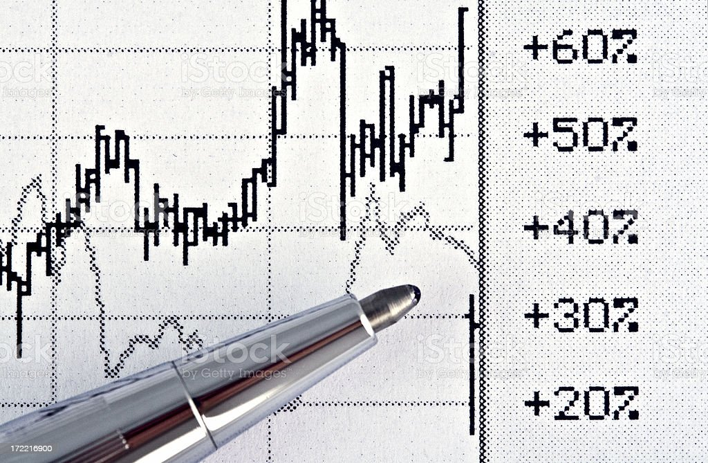 Stock Chart with Pen royalty-free stock photo