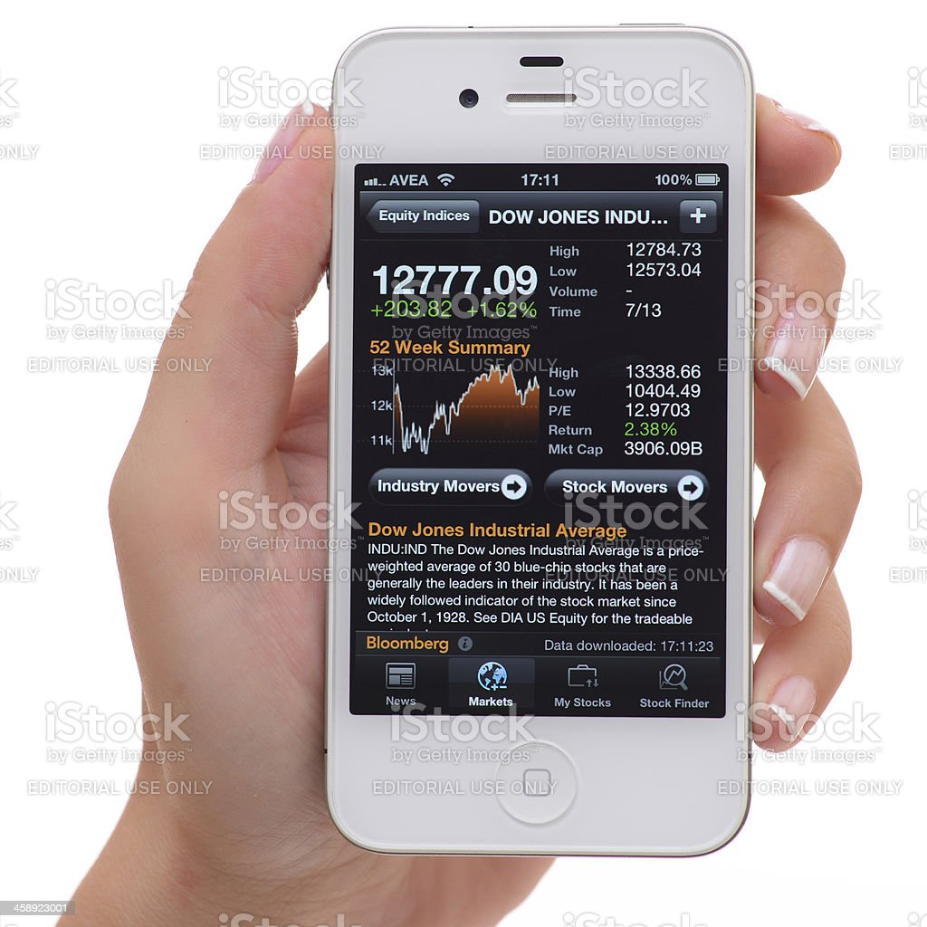 Stock Charts on iPhone 4 royalty-free stock photo