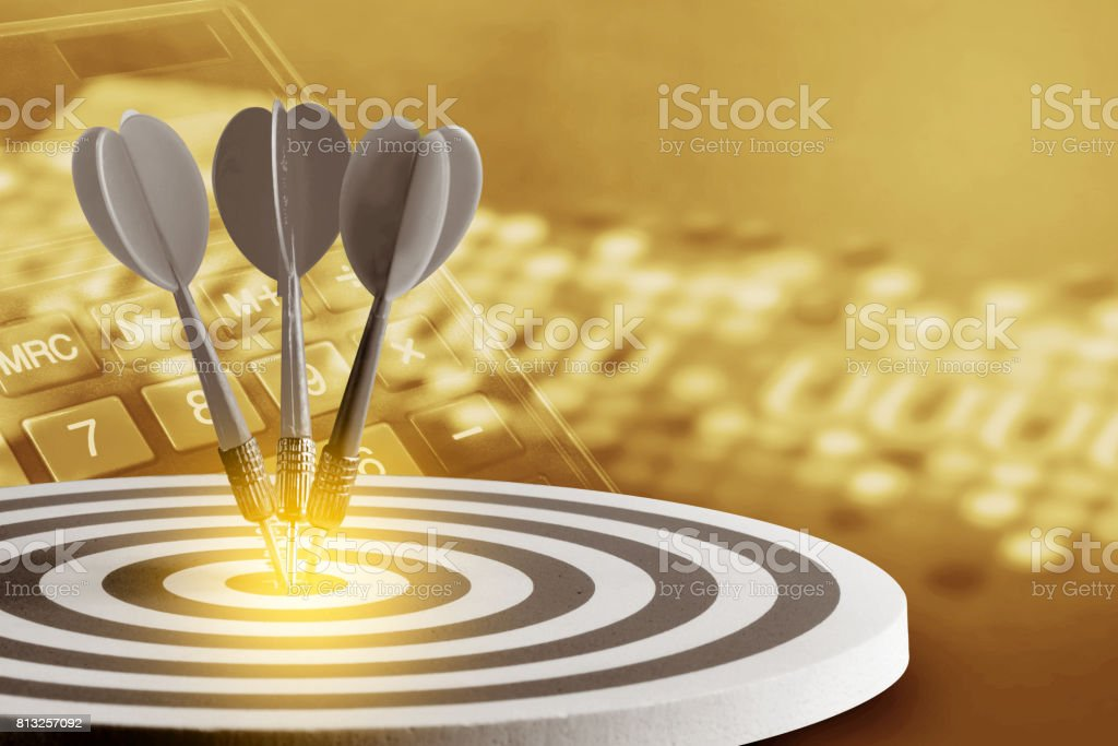 Stock charts screen with  Circular target marked  numbers stock photo
